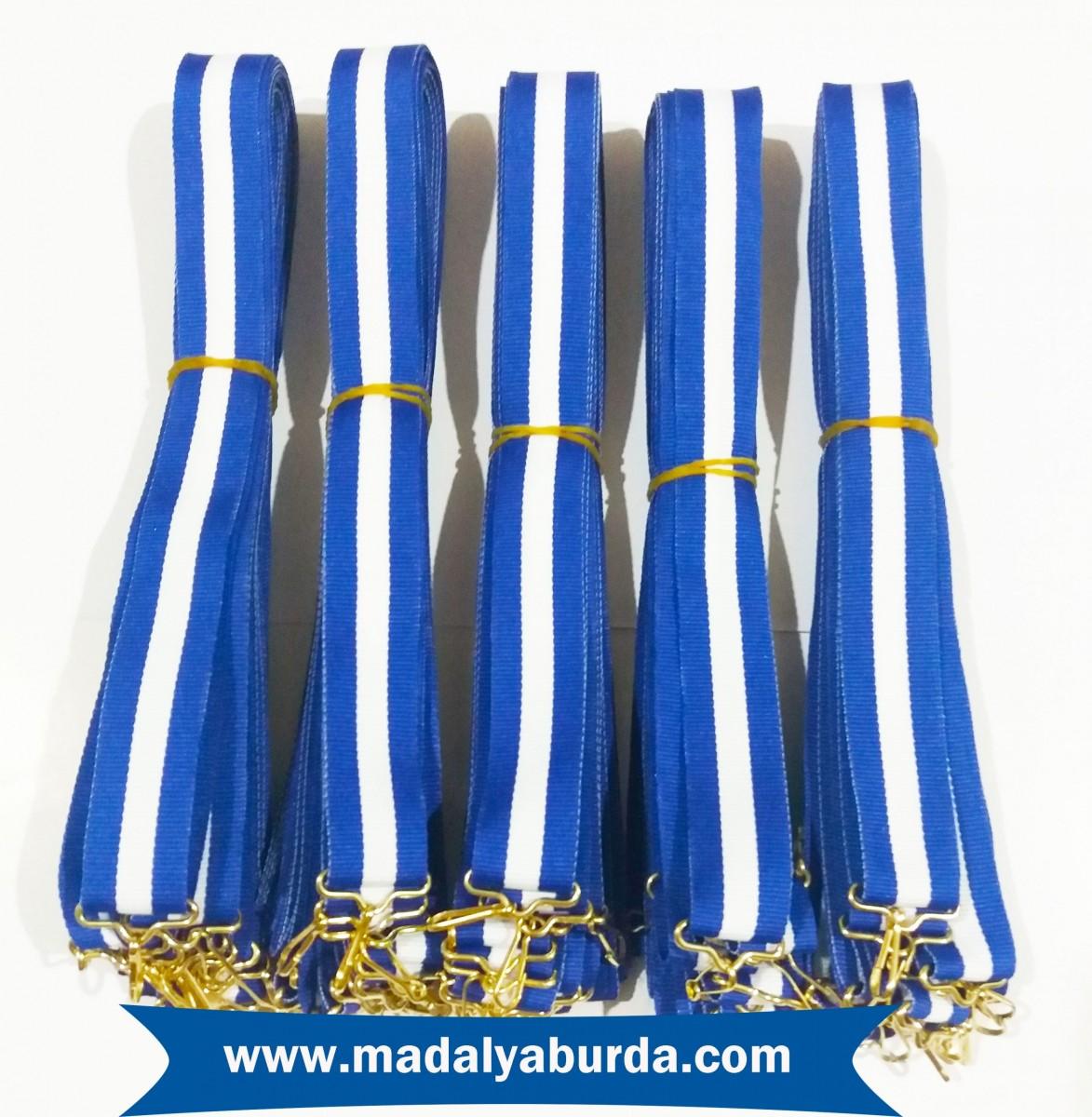 Madalya kurdelesi mavi-beyaz